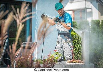 Pressure Washing in Garden