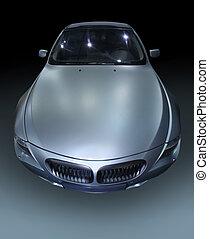 prestige silvery sports car on gradient background