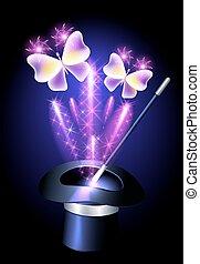 prestigiatore, cappello, con, bacchetta magica, e, farfalle