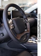 prestigious, auto, moderne, showroom., interieur, nieuw, handelaar, transportation.