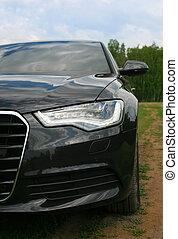prestigious car goes on wood road