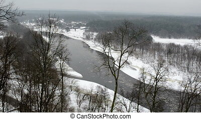 prestigious houses river - neris river with floe flowing...
