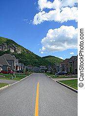 prestigious, montaña, suburbano, vecindad, área