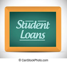 prestiti, scritto, messaggio, lavagna, studente