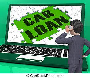 prestito automobile, vendite, interpretazione, automobile, mostra, laptop, 3d