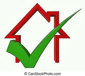prestito, casa, approvato, assegno, mostra, casa, vendita