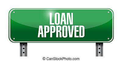 prestito, disegno, approvato, illustrazione, segno