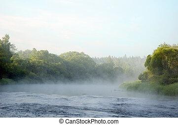 presto, banca fiume, mattina