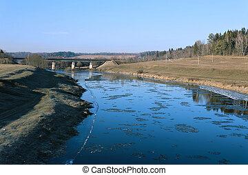 presto, primavera, galleggiante, fiume, ghiaccio