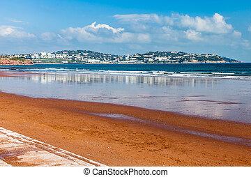 Preston Sands Beach Devon England - Red sandy beach at...