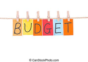 presupuesto, colorido, palabras, cuelgue, en, soga