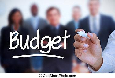 presupuesto, escritura, m, hombre de negocios
