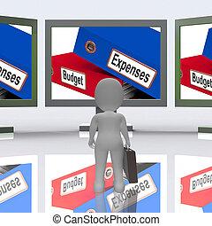 presupuesto, gastos, pantalla, medio, empresa / negocio, finanzas, 3d, interpretación
