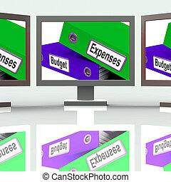 presupuesto, gastos, pantalla, medio, empresa / negocio, finanzas, y, presupuestación