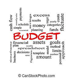 presupuesto, palabra, nube, concepto, en, rojo, tapas