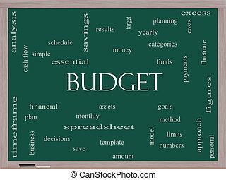 presupuesto, palabra, nube, concepto, en, un, pizarra