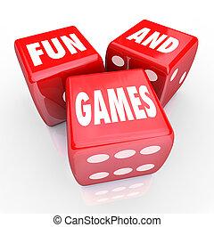pret en spelen, -, woorden, op, drie, rood, dobbelsteen