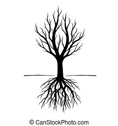 pretas, árvore, com, roots., vetorial, illustration.