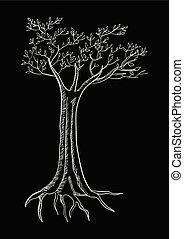 pretas, árvore, isolado