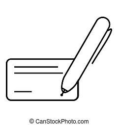 pretas, ícone, caneta, em branco, cor