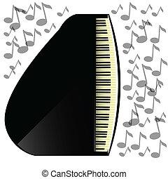 pretas, ícone, piano, grandioso