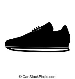 pretas, ícone, sapatos, cor, desporto