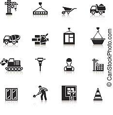 pretas, ícones, jogo construção