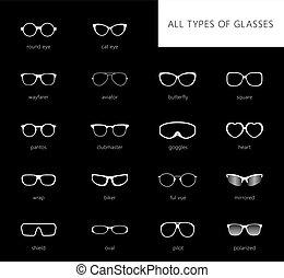 pretas, óculos, fundo