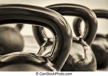 pretas, abstratos,  -, branca,  kettlebells
