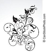 pretas, abstratos, floral
