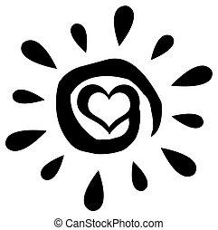 pretas, abstratos, sol, com, coração