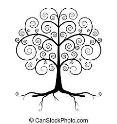 pretas, abstratos, vetorial, árvore, ilustração
