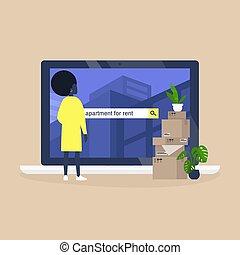 pretas, achar, femininas, casa, personagem, plataforma, service., alugando, usando, aluguel, online, apartamento, jovem