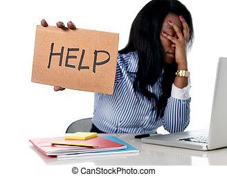 pretas, africano etnicidade americano, frustrado, mulher, trabalhando, em, tensão, em, escritório