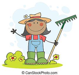 pretas, agricultor, menina