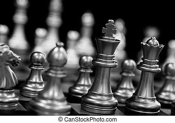 pretas, alvo, negócio, sucesso, jogo, levantar, batalha, experiência., play., rei, líder mercado, chessboard, conceito, isolado, desafio, competição, strategy., inteligência, xadrez