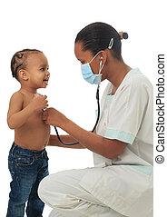 pretas, americano africano, enfermeira, criança, isolado
