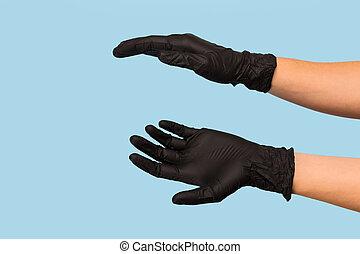 pretas, anunciando, segura, lata, produto, seu, experiência., azul, mão, médico, objeto, escarneça, inserção, luva, tu