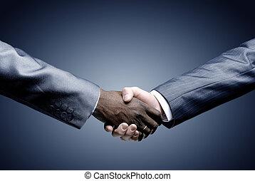 pretas, aperto mão, -, segurando mão
