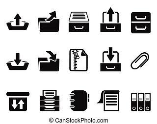 pretas, arquivo, ícones, jogo