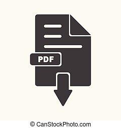 pretas, arquivo, download, pdf, branca, ícone