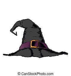 pretas, arrepiado, chapéu bruxa