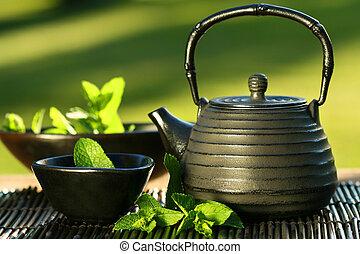 pretas, asiático, bule, com, chá mint