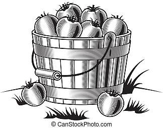 pretas, balde, retro, tomates