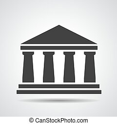 pretas, banco, ícone, ligado, um, cinzento, fundo