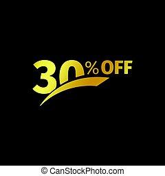 pretas, bandeira, desconto, compra, 30, cento, venda, vetorial, ouro, logotipo, ligado, um, pretas, experiência., promocional, negócio, oferta, para, compradores, logotype., trinta, porcentagem, desligado, descontos, em, a, estrito, estilo, coupon.