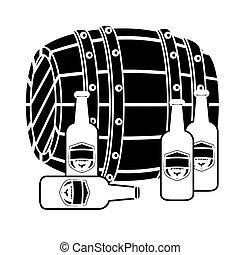 pretas, barril madeira, com, garrafas cerveja