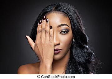 pretas, beleza, com, elegante, cabelo ondulado