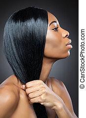 pretas, beleza, com, longo, cabelo reto