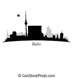 pretas, berlim, vetorial, silueta, skyline